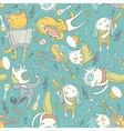Cute seamless pattern with lovely musicians vector image