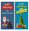 Merry Christmas and Happy New Year banners Cartoon vector image