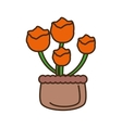 orange flower on basket icon vector image