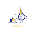 Happy birthday party time event celebration piece vector image