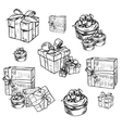 set of gift boxes with bows vector image