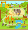 zoo flat animals flat vector image