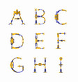 Technical robot font letters from a to i vector image