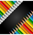 Two diagonal rows of rainbow colored pencils with vector image