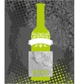 Green wine bottle vector image
