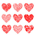 Valentine hearts red for your design vector image