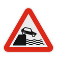 car on a precipice over water icon flat style vector image