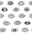 Eyes sketchy hand drawn outline seamless pattern vector image