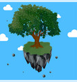 magic tree on flying rock island vector image