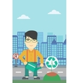 Man watering tree with recycle sign vector image