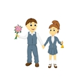 school girl and school boy vector image