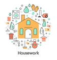 House Work Line Art Thin Icons Set vector image