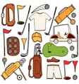Golf color icons set in cartoon style vector image