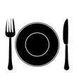contour fork knife and plate icon image vector image