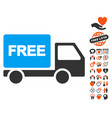 free delivery icon with valentine bonus vector image