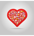 Flowers heart greeting card vector image