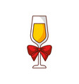 champagen glass with bow decoration christmas vector image