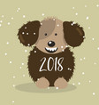 happy 2018 new year card funny fluffy dog vector image
