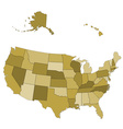 USA map - states separated in the groups vector image