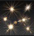 set of lighting sparks on transparent background vector image