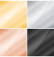 4 glossy square background of gold silver copper vector image