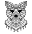 Clean lines doodle art of cute cat for coloring bo vector image