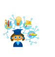 cute liitle girl weating graduation cap and gown vector image