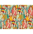 Happy crowd children color seamless pattern vector image