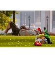Man and woman relaxing on the grass next to picnic vector image