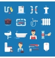 Plumbing Flat Icons Collection Blue Background vector image