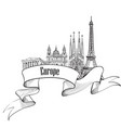 travel europe label famous buildings and vector image