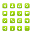 Green satin icon web button with white basic sign vector image