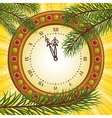 Pine and clock vector image vector image