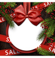 Christmas sale background with satin bow vector image