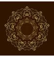 Hand drawn gold flower mandala over dark brown vector image