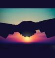 sky and handshake silhouette start sunrise vector image