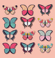 collection of twelve colorful butterflies vector image vector image