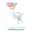 wedding planner flying with balloons vector image vector image