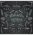 Chalk Drawing Floral Design Elements vector image