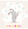 Baby Shower or Arrival Card - with Baby Bunny vector image