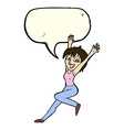 cartoon excited woman with speech bubble vector image