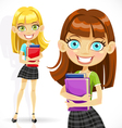 Cute student girl with books vector image