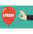 Hand pushing needle to pop the stress balloon vector image