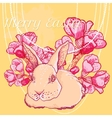 Easter rabbit with spring cherry branch vector image