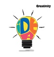 Light bulb sketch with concept of idea vector image