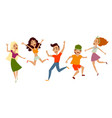 set of young people teenagers dancing having fun vector image