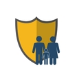 shield and family pictogram icon vector image