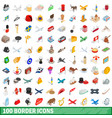 100 border icons set isometric 3d style vector image