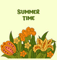 summer postcard cover summer green orange yellow vector image