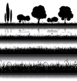 Set of nature background with grass bushes vector image